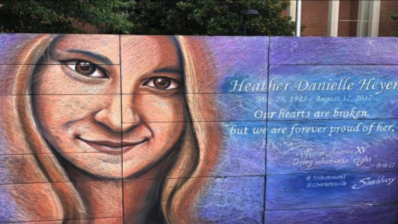 Artist paints mural depicting Charlottesville victim Heather Heyer