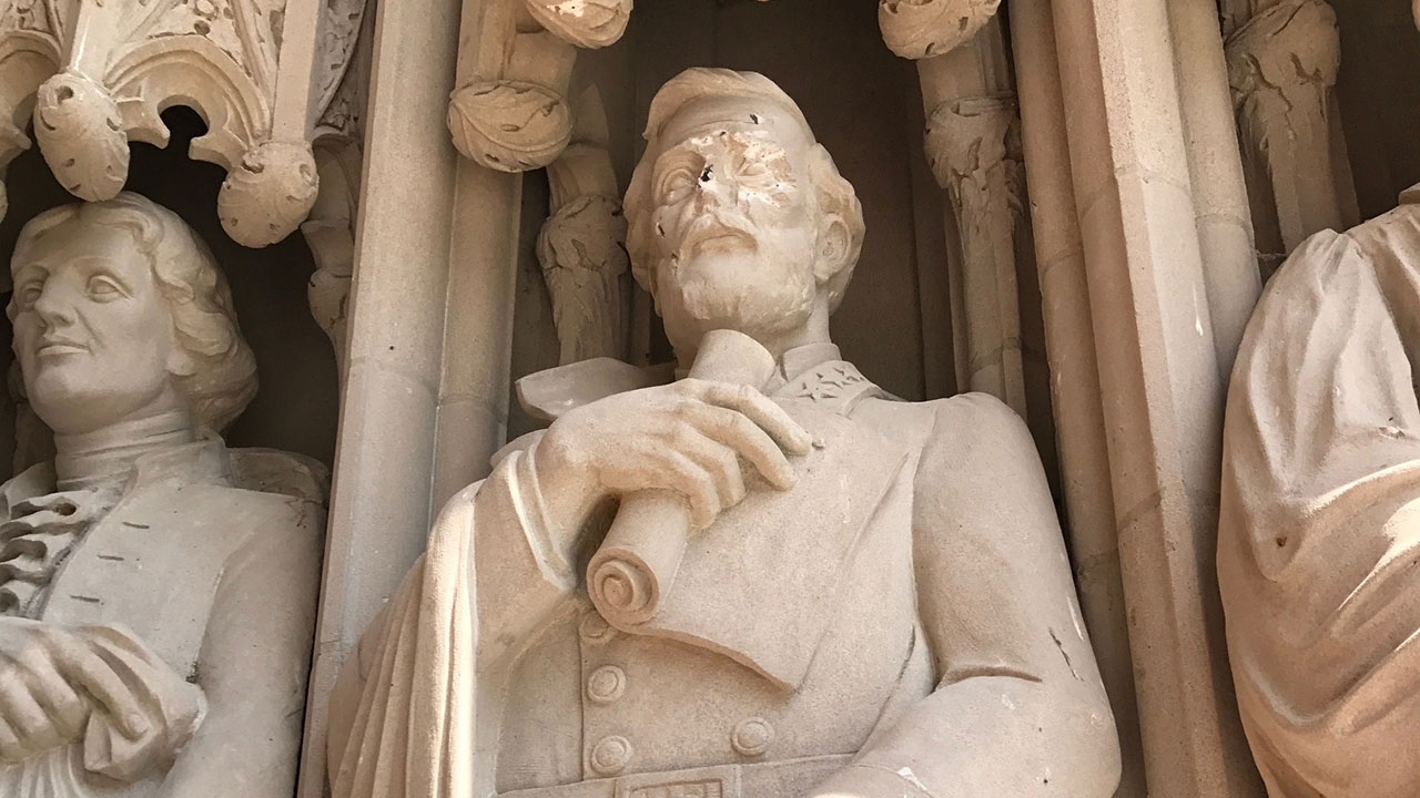 A statue of Confederate General Robert E. Lee that is part Duke Chapel on Duke University's campus in Durham