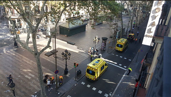 "<div class=""meta image-caption""><div class=""origin-logo origin-image none""><span>none</span></div><span class=""caption-text"">Twitter user Claudia Lerma shared this photo from the scene where a van plowed into a crowd, injuring pedestrians in Barcelona. (Claudia Lerma/Twitter)</span></div>"
