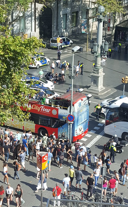 "<div class=""meta image-caption""><div class=""origin-logo origin-image none""><span>none</span></div><span class=""caption-text"">A Twitter user shared this photo from the scene where a van plowed into a crowd, injuring pedestrians in Barcelona. (Vil_Music/Twitter)</span></div>"