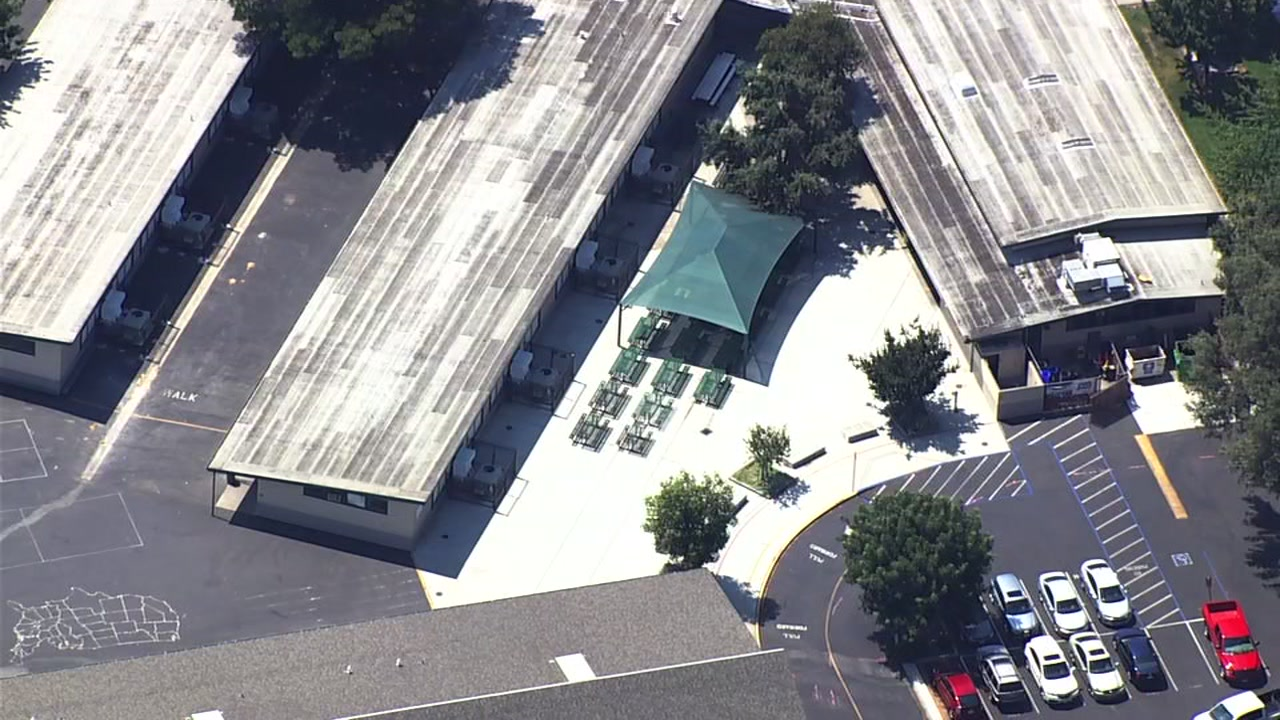 This image from Sky7 shows Schallenberger Elementary School in San Jose, Calif. The school was locked down due to police activity on Friday, Aug. 18, 2017.
