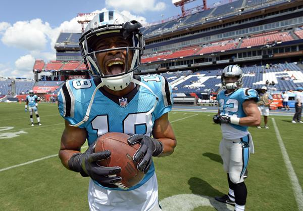 "<div class=""meta image-caption""><div class=""origin-logo origin-image ap""><span>AP</span></div><span class=""caption-text"">Carolina Panthers wide receiver Russell Shepard jokes around as he warms up before the game. (Mark Zaleski)</span></div>"