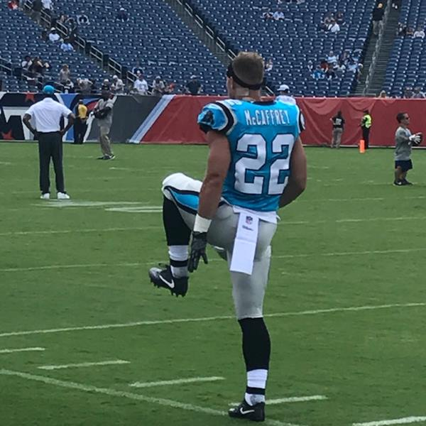 "<div class=""meta image-caption""><div class=""origin-logo origin-image wtvd""><span>WTVD</span></div><span class=""caption-text"">Christian McCaffrey warms up before the game. (Charlie Mickens)</span></div>"