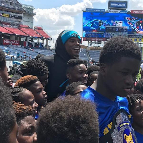 "<div class=""meta image-caption""><div class=""origin-logo origin-image wtvd""><span>WTVD</span></div><span class=""caption-text"">Cam Newton didn't play for the second game in a row, but it looks like he still had a good time. (Charlie Mickens)</span></div>"