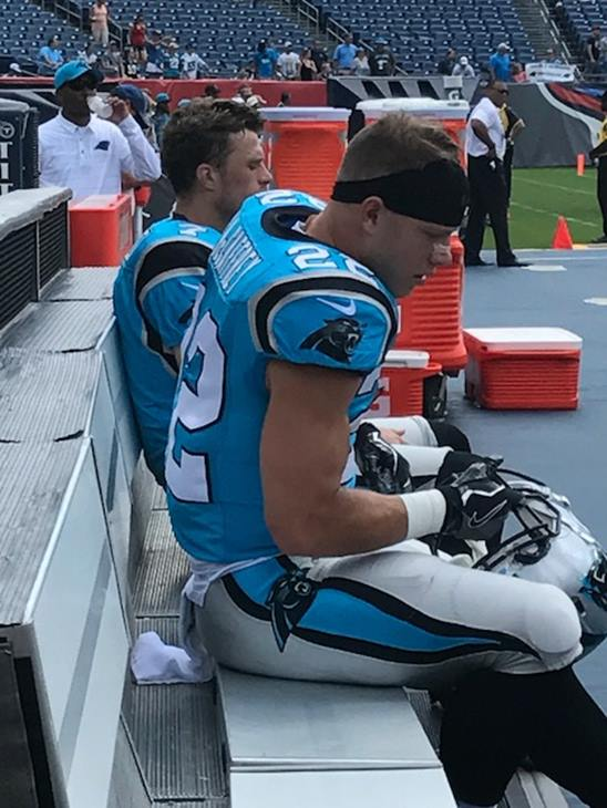 "<div class=""meta image-caption""><div class=""origin-logo origin-image wtvd""><span>WTVD</span></div><span class=""caption-text"">Christian McCaffrey finished with 33 yards rushing on three carries and a touchdown. (Charlie Mickens)</span></div>"