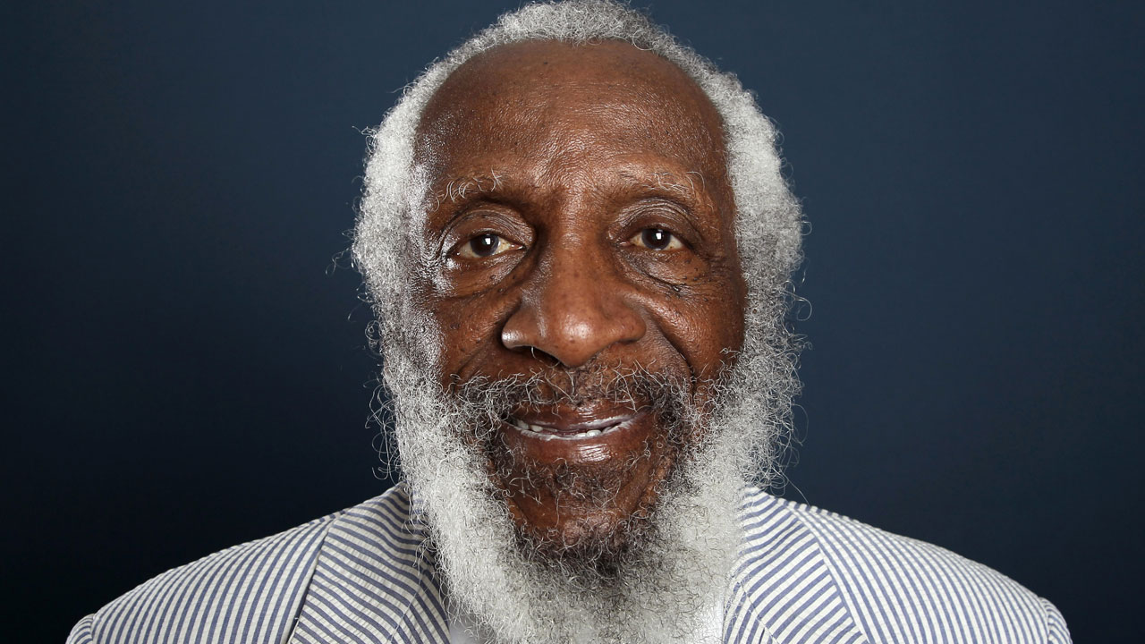 In this July 21, 2012 file photo, comedian and activist Dick Gregory poses for a portrait during a PBS TCA Press Tour in Beverly Hills, Calif.