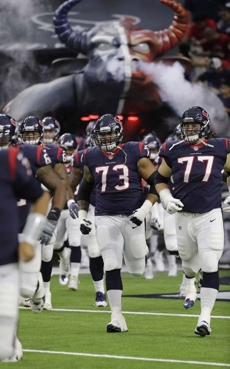 <div class='meta'><div class='origin-logo' data-origin='AP'></div><span class='caption-text' data-credit='David J. Phillip'>Houston Texans players run out of the tunnel before an NFL football preseason game against the New England Patriots Saturday, Aug. 19, 2017, in Houston.</span></div>