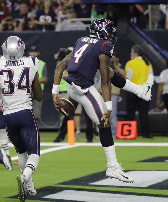 <div class='meta'><div class='origin-logo' data-origin='AP'></div><span class='caption-text' data-credit='David J. Phillip'>Houston Texans quarterback Deshaun Watson (4) celebrates his touchdown during the second half of an NFL football preseason game against the New England Patriots.</span></div>