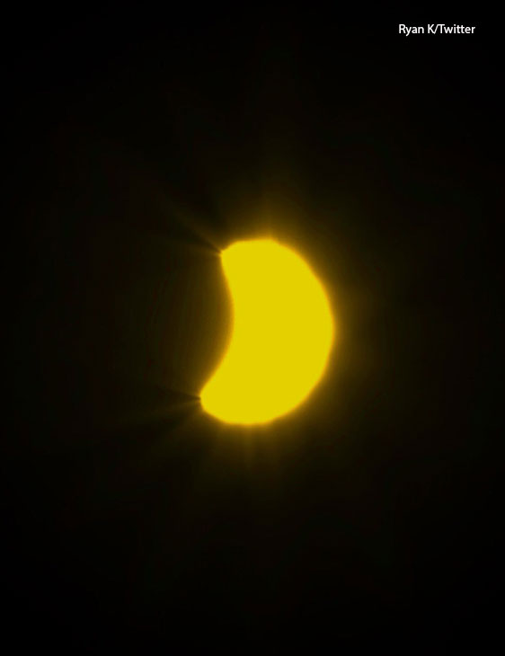 "<div class=""meta image-caption""><div class=""origin-logo origin-image kabc""><span>KABC</span></div><span class=""caption-text"">The Great American Eclipse appears yellow in Corona on Monday, Aug. 21, 2017. (Ryan K/Twitter)</span></div>"