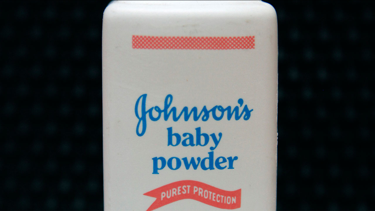 FILE - In this April 15, 2011 file photo, a bottle of Johnson's baby powder is displayed in San Francisco.