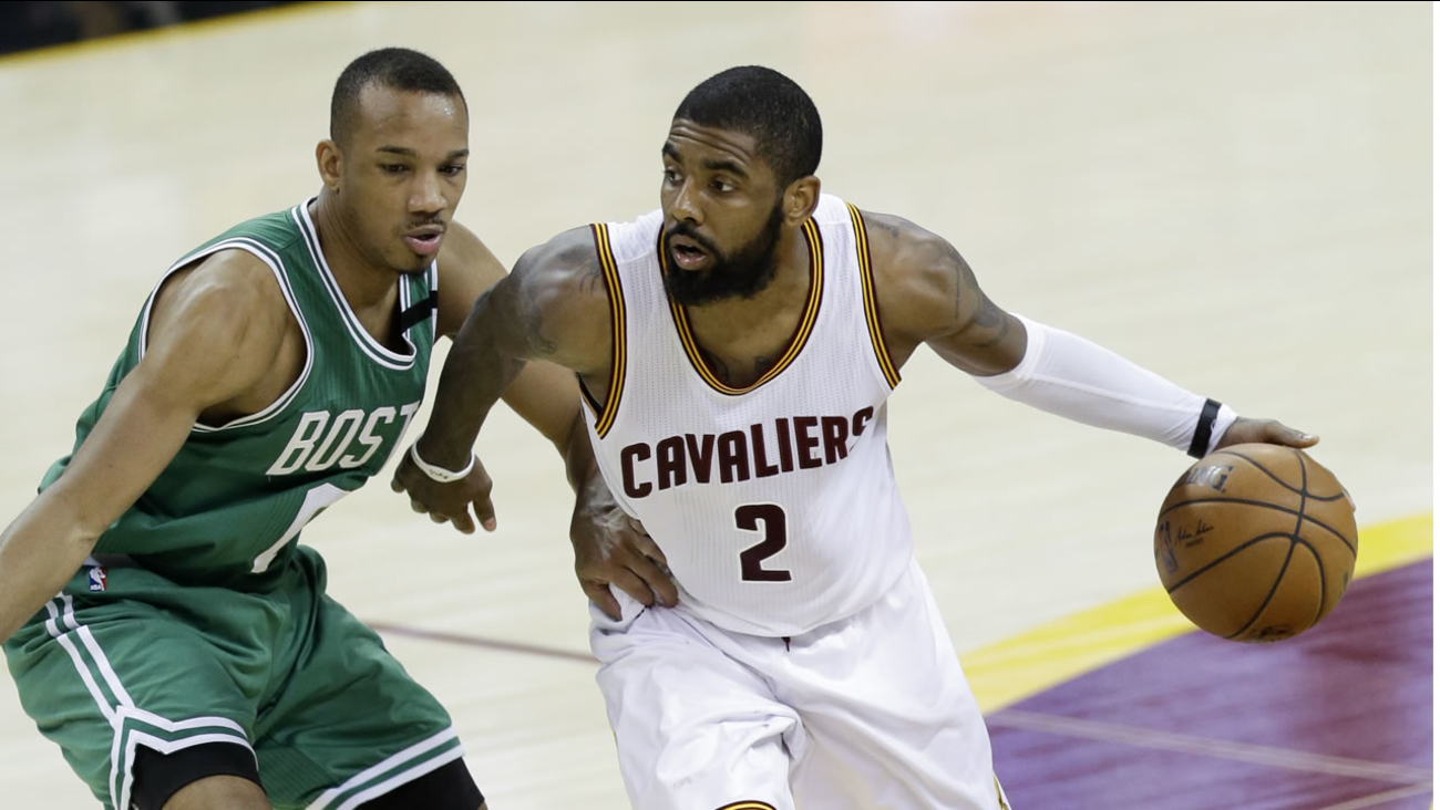 Cleveland Cavaliers' Kyrie Irving (2) drives on Boston Celtics' Avery Bradley (0) during the second half of Game 4 of the NBA basketball Eastern Conference finals in 2017.