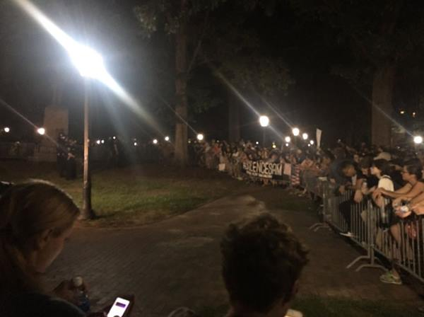 "<div class=""meta image-caption""><div class=""origin-logo origin-image wtvd""><span>WTVD</span></div><span class=""caption-text"">Protesters gather at the Silent Sam statue on Tuesday. (Angelica Alvarez/Twitter)</span></div>"