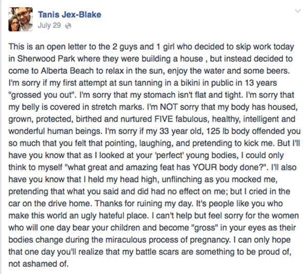 "<div class=""meta image-caption""><div class=""origin-logo origin-image ""><span></span></div><span class=""caption-text"">The status that Jex-Blake posted after the incident. (Tanis Jex-Blake / Facebook)</span></div>"