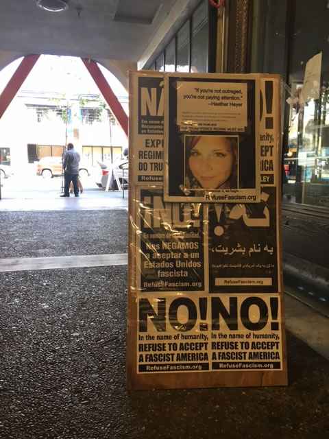 <div class='meta'><div class='origin-logo' data-origin='none'></div><span class='caption-text' data-credit='KGO-TV'>A sign at Revolution Books is seen in advance of a planned protest in Berkeley, Calif. on Friday, Aug. 25, 2017.</span></div>