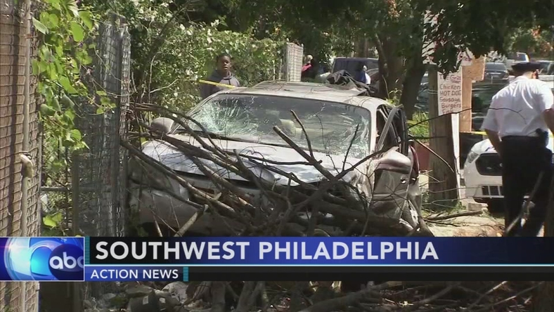VIDEO: Car crashes into tree in SW Philadelphia