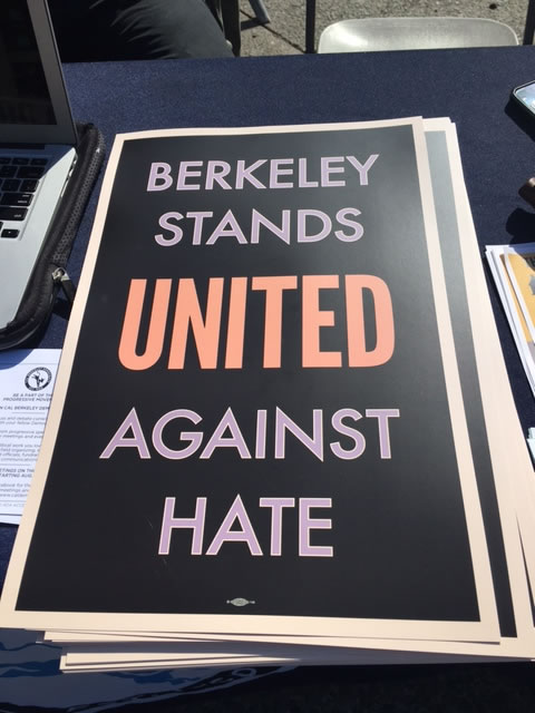 <div class='meta'><div class='origin-logo' data-origin='none'></div><span class='caption-text' data-credit='KGO-TV'>Cal student activists passed out signs like this one on campus in Berkeley, Calif. on Friday, Aug. 25, 2017.</span></div>