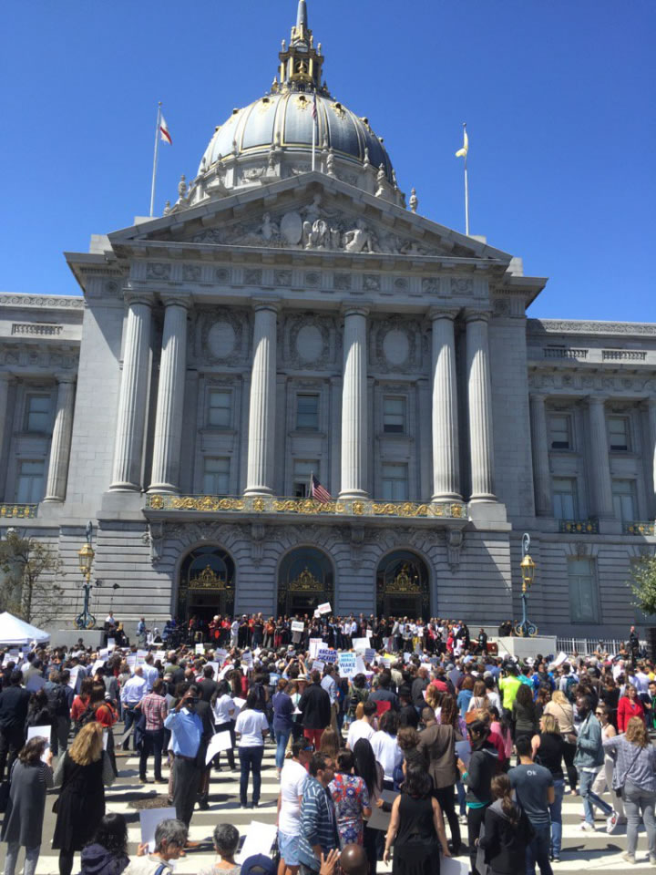 <div class='meta'><div class='origin-logo' data-origin='none'></div><span class='caption-text' data-credit='KGO-TV'>Residents, politicians, and celebrities gathered for a &#34;Unite Against Hate Rally&#34; in front of San Francisco's City Hall on Friday, Aug. 25, 2017.</span></div>