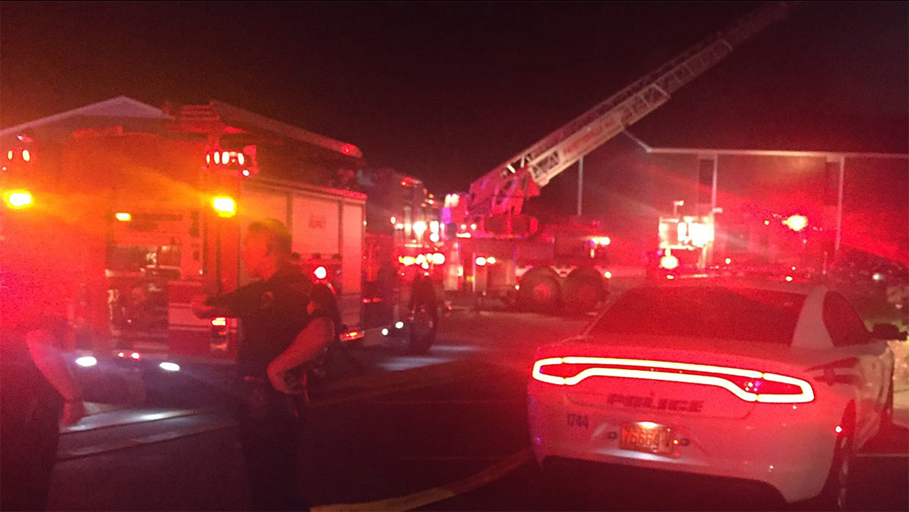 Authorities said the fire was contained to a single building.