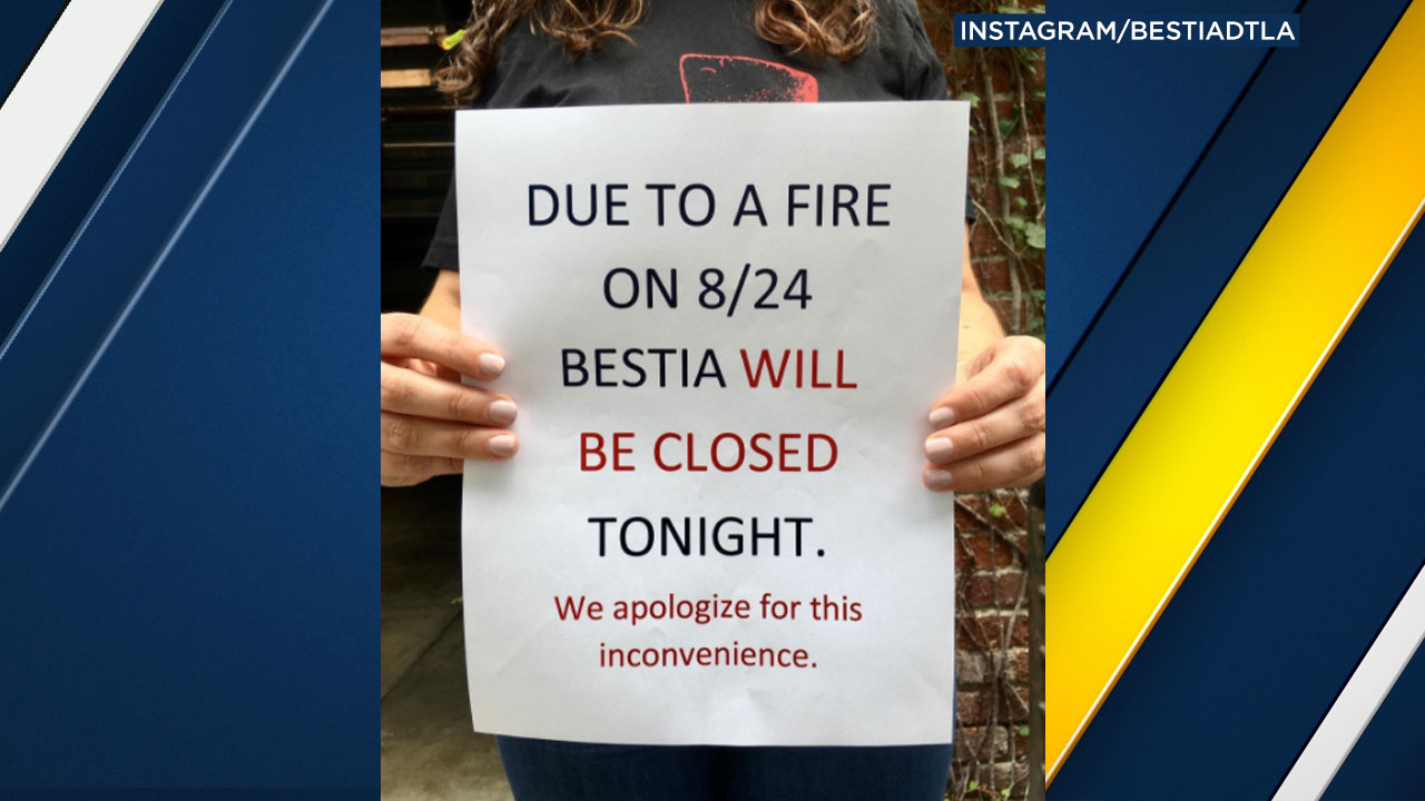 A sign posted on Bestia's Instagram account states the downtown L.A. restaurant will be closed over the weekend because of a kitchen fire.
