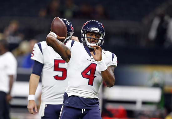 <div class='meta'><div class='origin-logo' data-origin='AP'></div><span class='caption-text' data-credit='AP'>Houston Texans quarterback Deshaun Watson (4) warms up before a preseason NFL football game against the New Orleans Saints in New Orleans. (AP Photo/Butch Dill)</span></div>