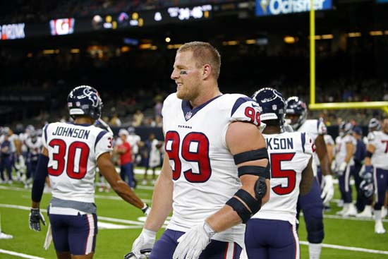 <div class='meta'><div class='origin-logo' data-origin='AP'></div><span class='caption-text' data-credit='AP'>Houston Texans defensive end J.J. Watt (99) warms up before a preseason NFL football game against the New Orleans Saints in New Orleans. (AP Photo/Butch Dill)</span></div>