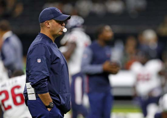 <div class='meta'><div class='origin-logo' data-origin='AP'></div><span class='caption-text' data-credit='AP'>Houston Texans head coach Bill O'Brien walks on the field before a preseason NFL football game against the New Orleans Saints in New Orleans. (AP Photo/Butch Dill)</span></div>