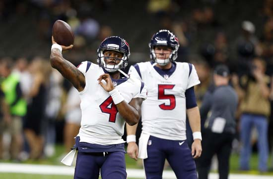 <div class='meta'><div class='origin-logo' data-origin='AP'></div><span class='caption-text' data-credit='AP'>Houston Texans quarterback Deshaun Watson (4) and quarterback Brandon Weeden (5) warm up. (AP Photo/Butch Dill)</span></div>