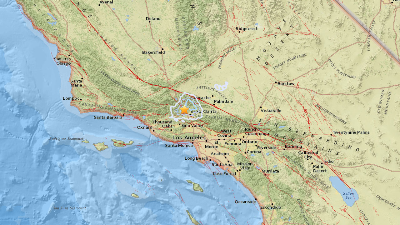 A preliminary magnitude 3.5 earthquake struck about 2 miles northwest of Castaic on Sunday, according to the U.S. Geological Survey.