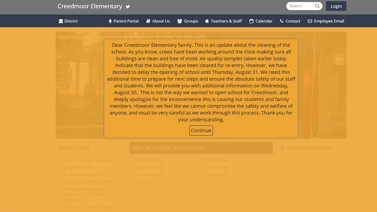 This message is displayed on Creedmoor Elementary School's website