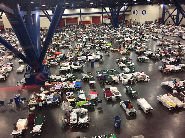 <div class='meta'><div class='origin-logo' data-origin='none'></div><span class='caption-text' data-credit='TXMilitary'>''#PhotosFromTheField: #Evacuees and #NationalGuard take shelter in #Houston on 28 August, 2017. #Harvey'' wrote the Texas Military Department on Twitter.</span></div>