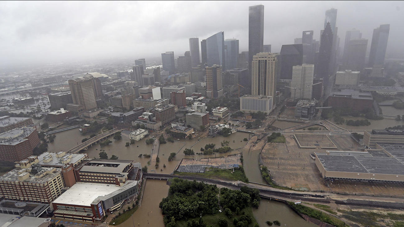 Highways around downtown Houston are empty as floodwaters from Tropical Storm Harvey overflow from the bayous.