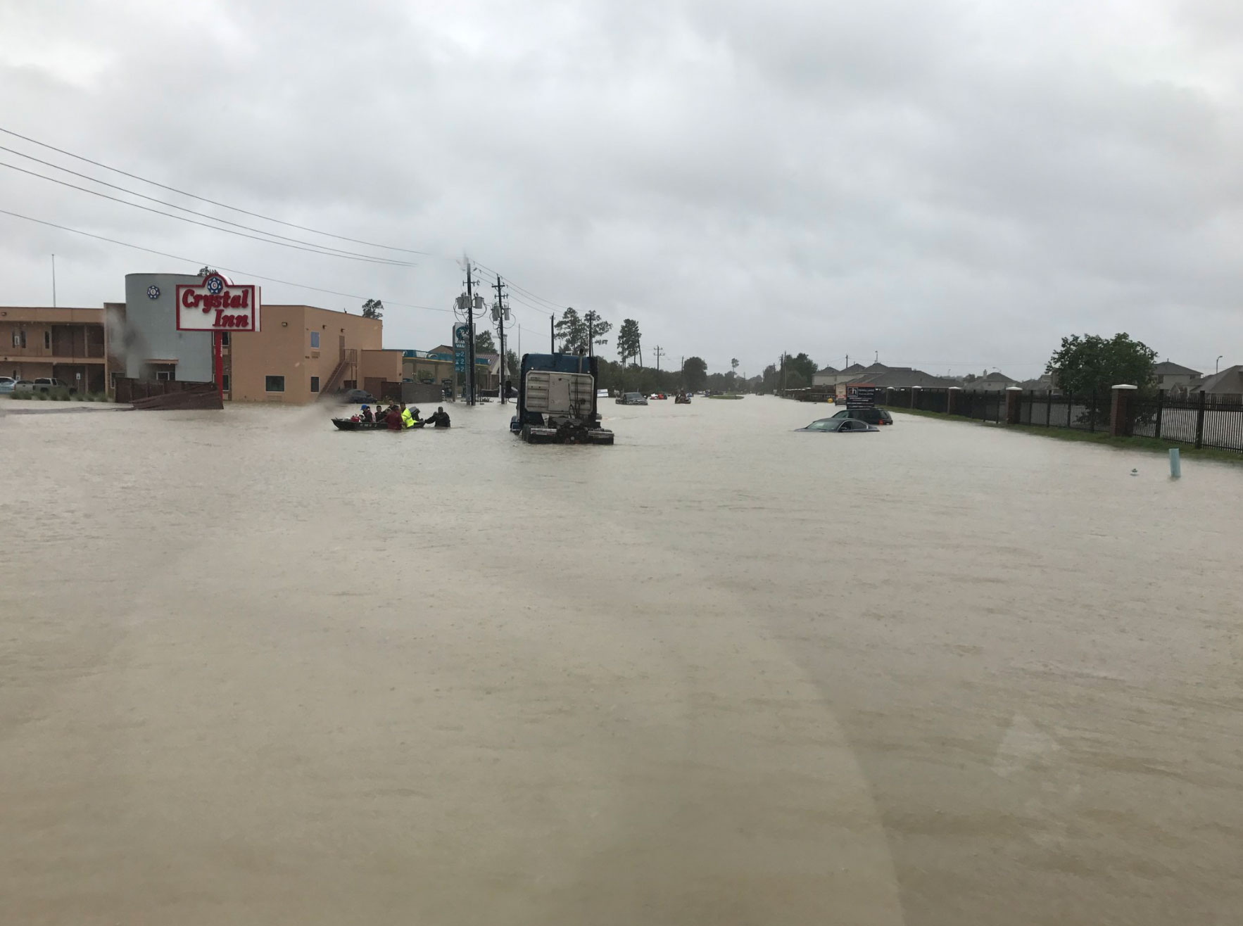 <div class='meta'><div class='origin-logo' data-origin='none'></div><span class='caption-text' data-credit='SheriffEd_HCSO/Twitter'>The Harris County Sheriff posted this photo on Tuesday while helping out with rescues on Tidwell Rd in Houston.</span></div>