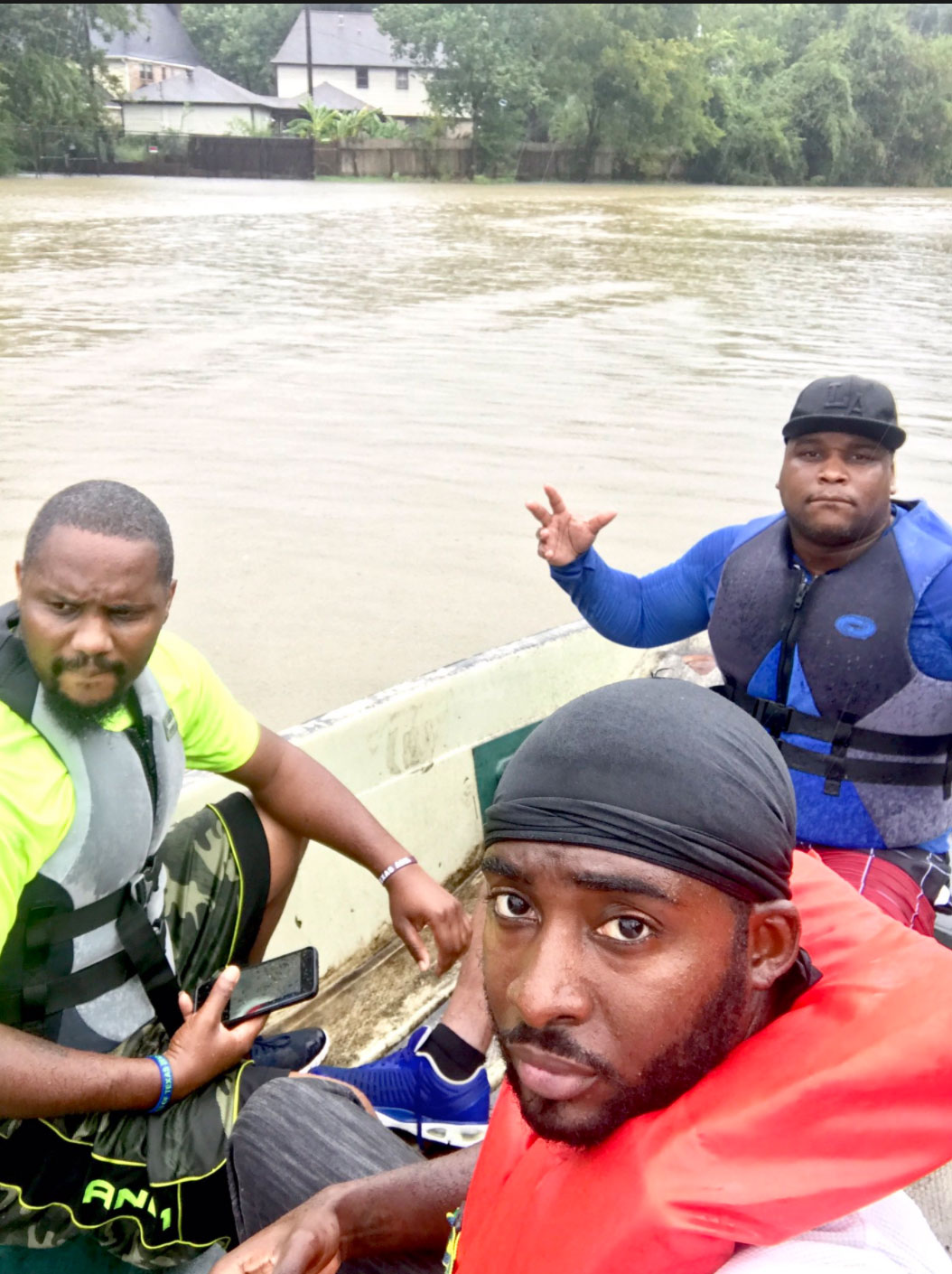 <div class='meta'><div class='origin-logo' data-origin='none'></div><span class='caption-text' data-credit='Larry Brown/Twitter'>Citizen rescuers in Houston on Tuesday captured these photos.</span></div>