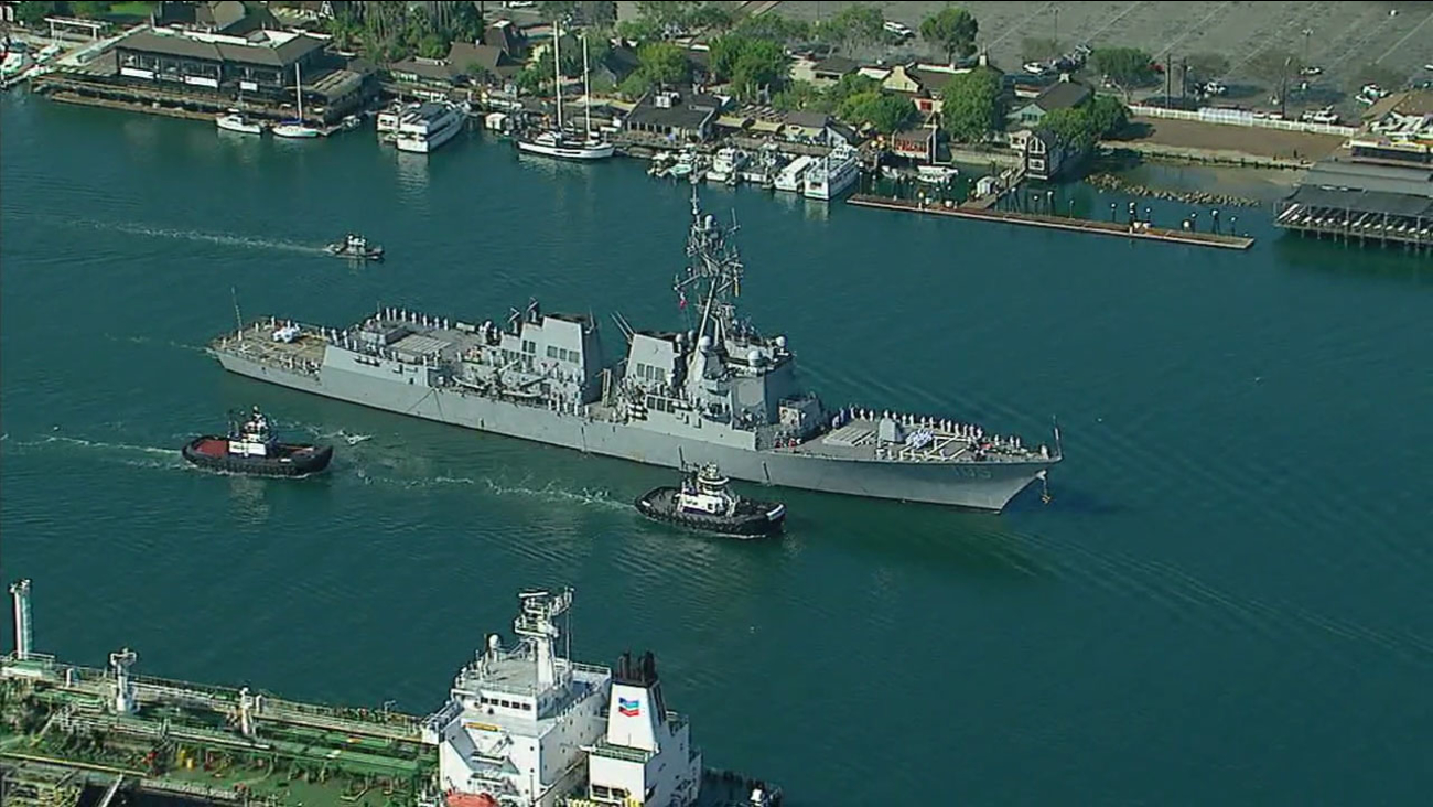 The USS Dewey is shown coming into the Port of Los Angeles on Wednesday, Aug. 30, 2017.