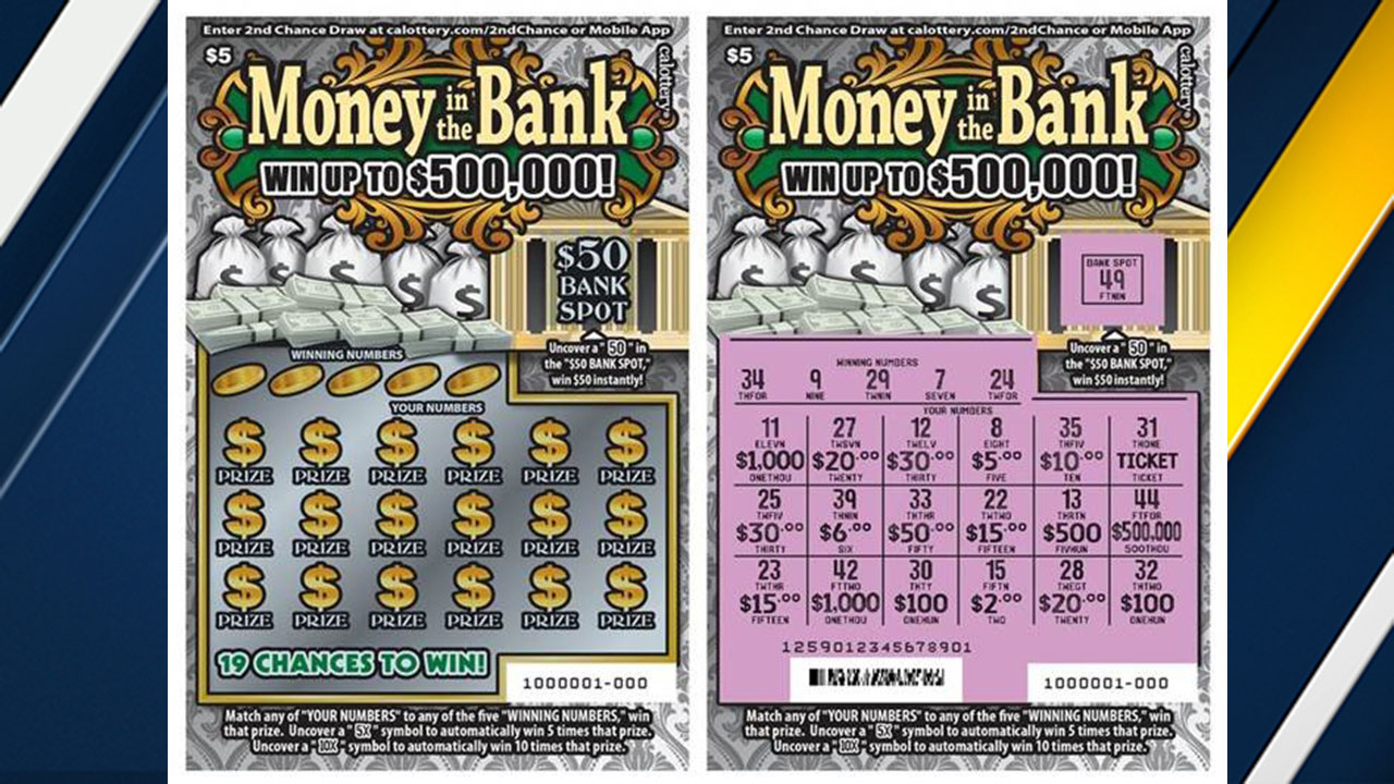 A sample ticket in the California Lottery's Money in the Bank scratchers game, which offers a top prize of $500,000.