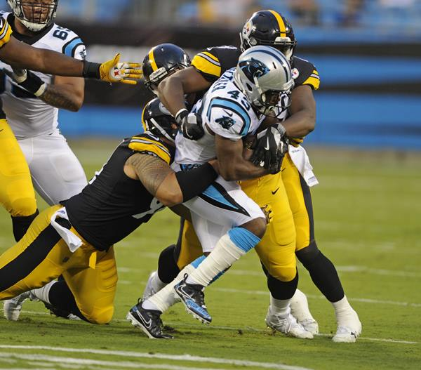 <div class='meta'><div class='origin-logo' data-origin='AP'></div><span class='caption-text' data-credit='Mike McCarn'>Carolina Panthers' Fozzy Whittaker (43) is tackled by Pittsburgh Steelers' Tyson Alualu.</span></div>