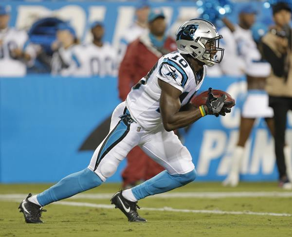 <div class='meta'><div class='origin-logo' data-origin='AP'></div><span class='caption-text' data-credit='Mike McCarn'>Carolina Panthers'rookie Curtis Samuel returns a kick against the Pittsburgh Steelers. He would later leave with an ankle injury.</span></div>