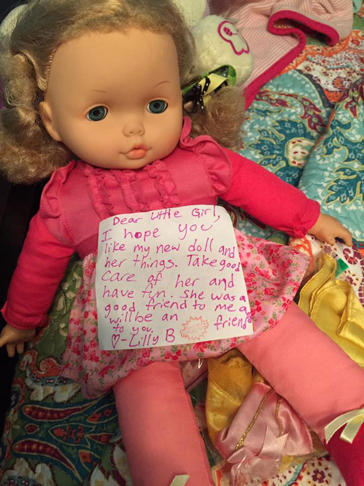 <div class='meta'><div class='origin-logo' data-origin='none'></div><span class='caption-text' data-credit='EJ Bice/Facebook'>A young girl in Mississippi overheard her parents talking about a trip to Houston, so she offered to donate her doll with a sweet note. Her parents are Hurricane Katrina survivors.</span></div>