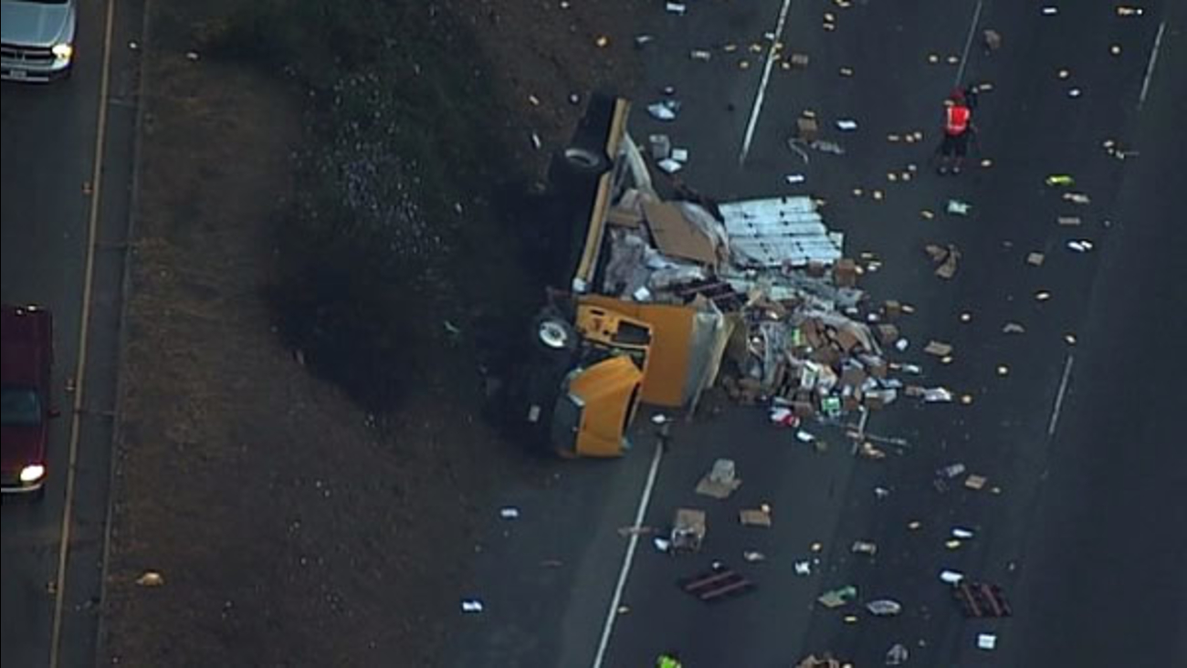 A big-rig crash is seen on westbound I-80 in San Pablo, Calif. on Friday, September 1, 2017.