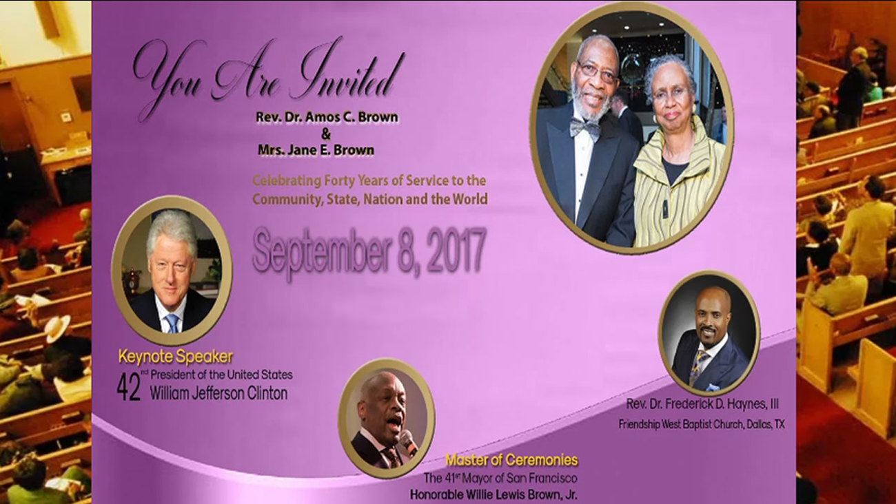 This image shows details of an event promoting the celebration of Rev. Amos Brown of San Francisco's Third Baptist Church.