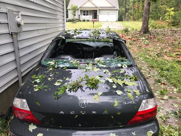 "<div class=""meta image-caption""><div class=""origin-logo origin-image none""><span>none</span></div><span class=""caption-text"">This is the damage from the storm in Willow Spring, NC (Daniel Bohuczky)</span></div>"