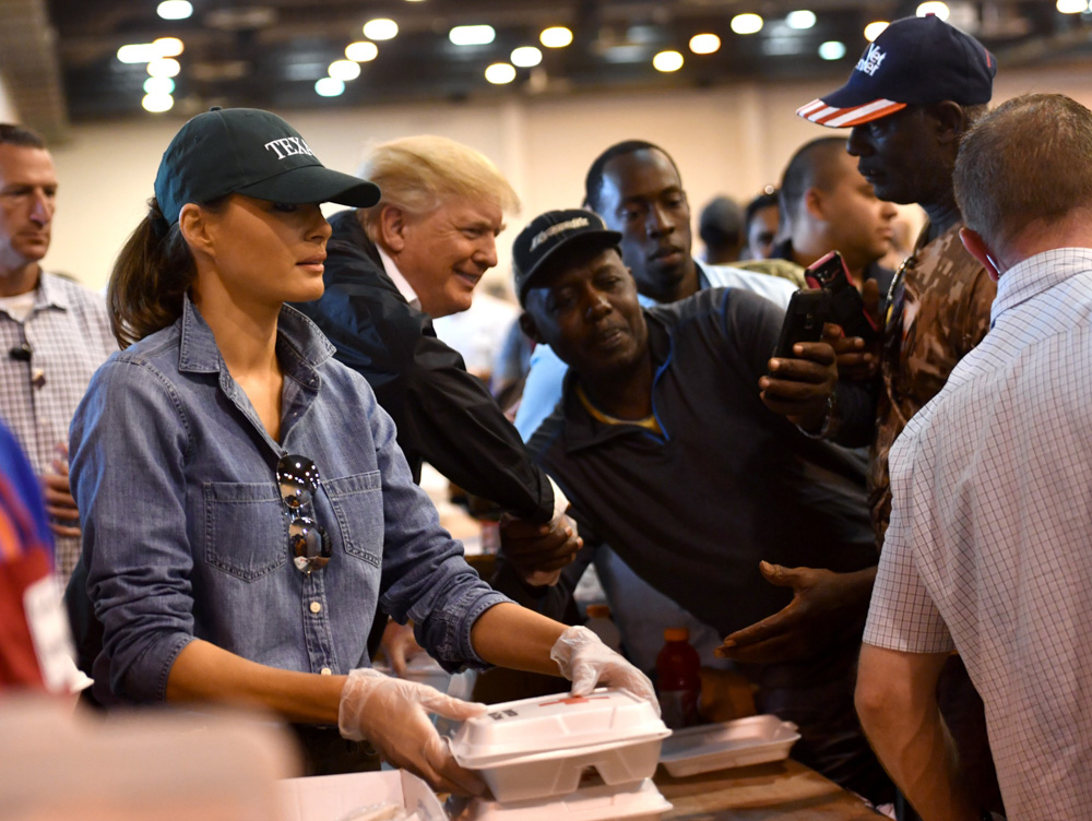 "<div class=""meta image-caption""><div class=""origin-logo origin-image none""><span>none</span></div><span class=""caption-text"">US President Donald Trump and First Lady Melania Trump serve food to Hurricane Harvey victims at NRG Center in Houston on September 2, 2017. (NICHOLAS KAMM/AFP/Getty Images)</span></div>"