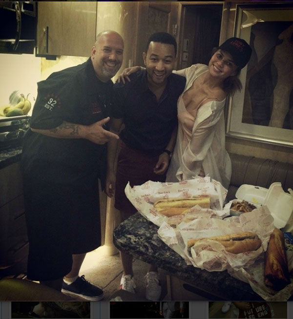 """<div class=""""meta image-caption""""><div class=""""origin-logo origin-image """"><span></span></div><span class=""""caption-text"""">""""Thanks to @tonylukes for hooking up the DELICIOUS philly cheese steaks tonight! #AllOfMeTour"""" wrote John Legend after performing at the Mann Center. (John Legend/ Instagram)</span></div>"""