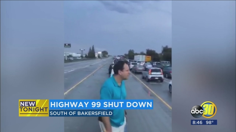 Highway 99 traffic near Bakersfield backed up for hours due to severe  weather