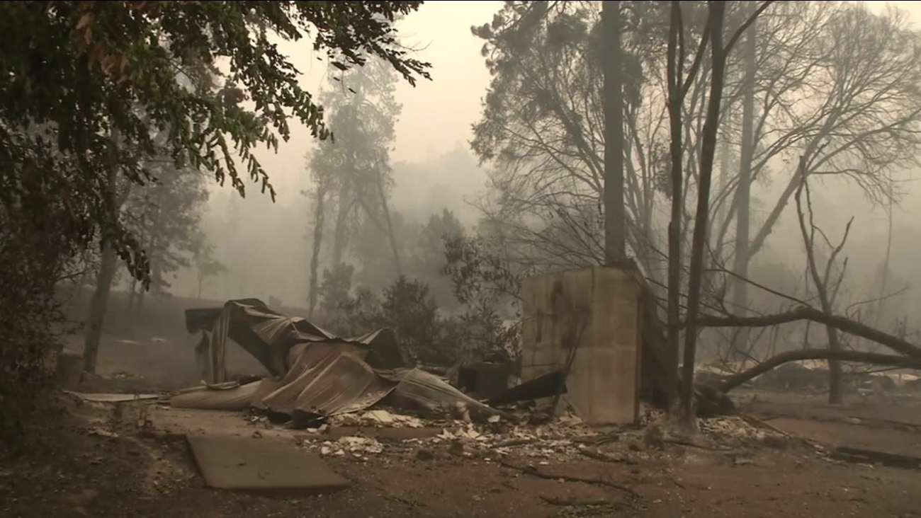 The remnants left by a wildfire burning in Helena west of Redding, Calif. is seen in this undated image.