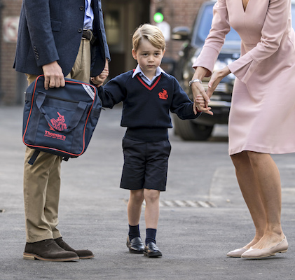 "<div class=""meta image-caption""><div class=""origin-logo origin-image wtvd""><span>wtvd</span></div><span class=""caption-text"">Prince George arrives for his first day of school at Thomas's school in Battersea and is met by Helen Haslem head of the lower school. (Richard Pohle/Pool Photo via AP)</span></div>"