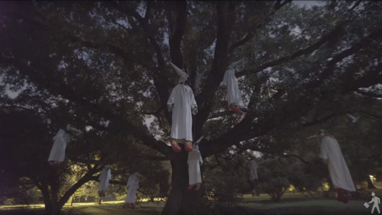 INDECLINE hung these eight Ku Klux 'Klown' effigies in tree to protest white nationalism in Virginia
