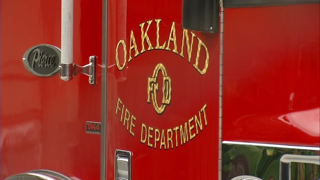 This image shows a fire truck in Oakland, Calif. on Thursday, Sept. 7, 2017.