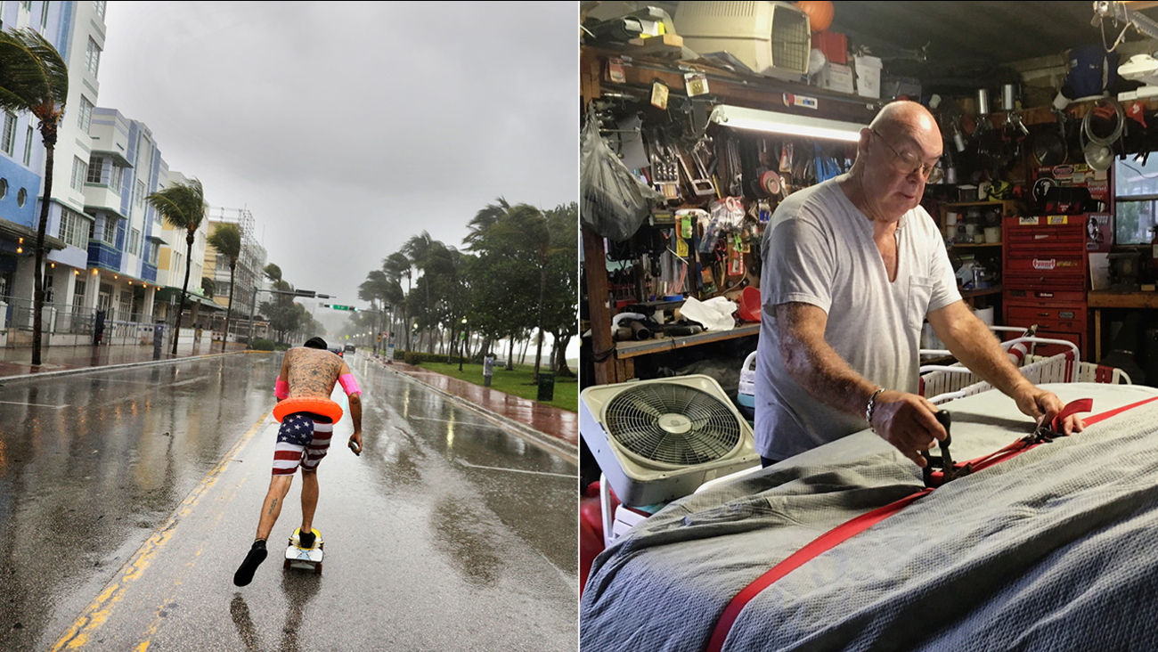 Funky Matas, left, skateboards along South Beach as the effects of Hurricane Irma are felt in Miami Beach, Fla. Roger Schwartz, right, covers his classic Corvette in Orlando.