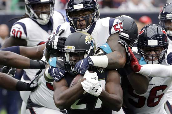 "<div class=""meta image-caption""><div class=""origin-logo origin-image ap""><span>AP</span></div><span class=""caption-text"">Jacksonville Jaguars running back Leonard Fournette (27) is hit by Houston Texans inside linebacker Benardrick McKinney (55) during the first half. (David J. Phillip)</span></div>"